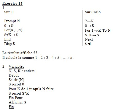 Algorithmes : corrigés des exercices du livre Exo1510