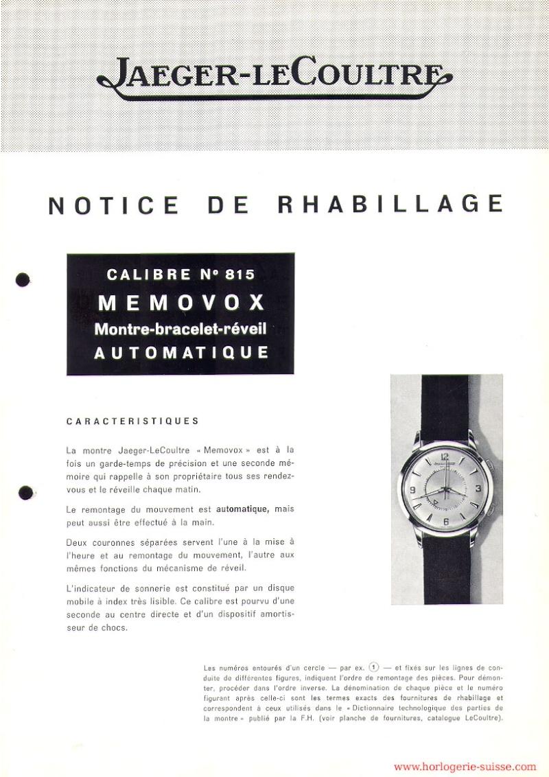 Référencement des Jaeger Lecoultre memovox. Memovo10