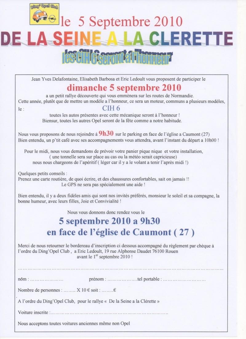 """le 5 septembre 2010 , le DOC fait son rallye """"De la Seine à la Clérette """" et fète les CIH 6 pattes ! De_la_10"""