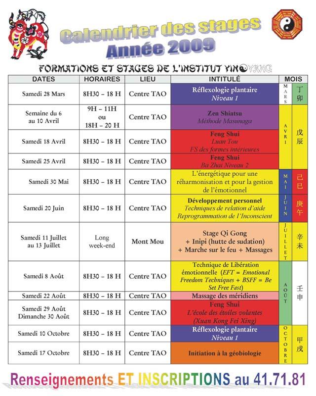 Stages 2009 de l'Institut Yin Yang de Nouvelle Calédonie Calend13