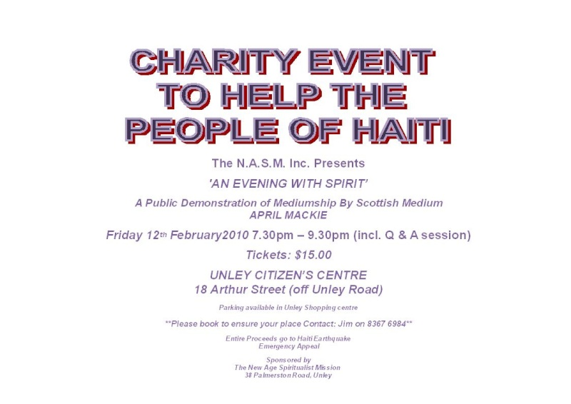 Haiti Fund Raiser Mediumship Demonstration Adelaide Haiti_10