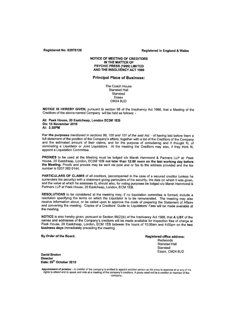 Psychic Press to go into creditors voluntary liquidation - Page 2 Notice10