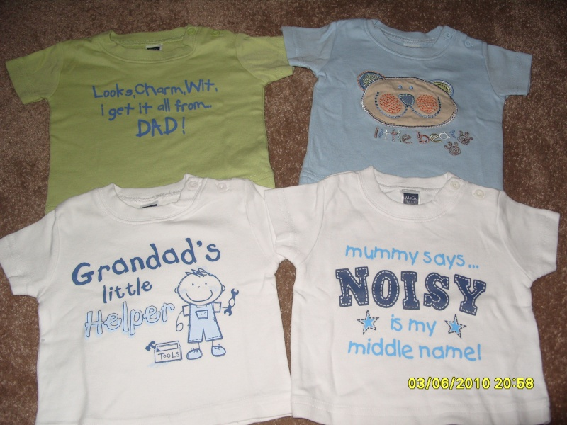 4 x slogan t-shirts from M&co 0-3 months Listed10