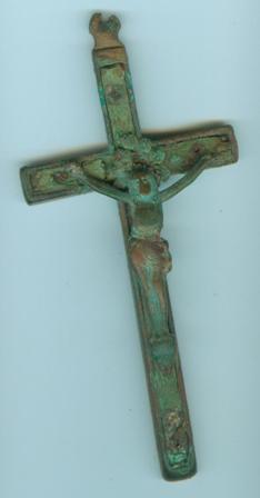 crucifix en bronze et bois d'olivier XIXe Crucif10