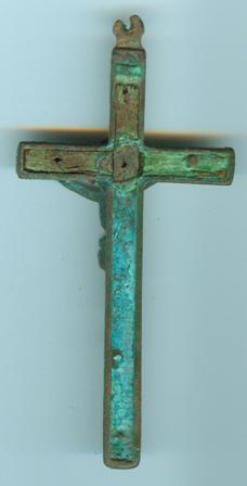 crucifix en bronze et bois d'olivier XIXe Crucif11