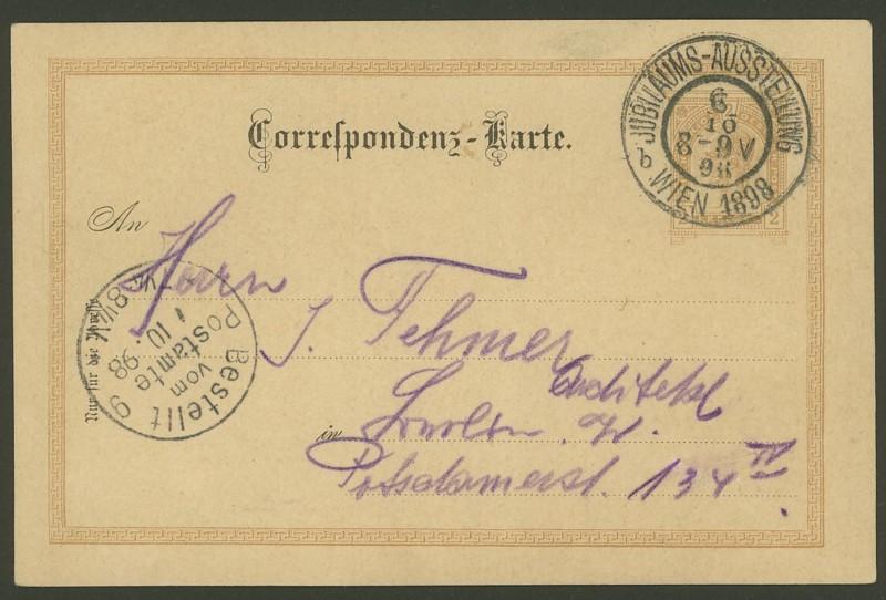 Halbamtliche Ganzsachenpostkarten  -  Gelegenheitsausgaben 1898_j11