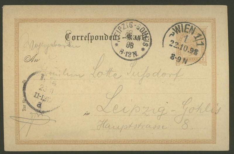 Halbamtliche Ganzsachenpostkarten  -  Gelegenheitsausgaben 1898_t11
