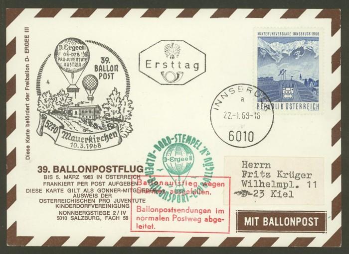 ballonpost - Ballonpostflug Pro Juventute 39_rot10