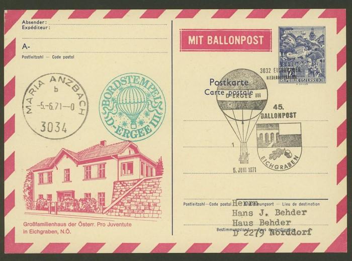 ballonpost - Ballonpostflug Pro Juventute 45b00010