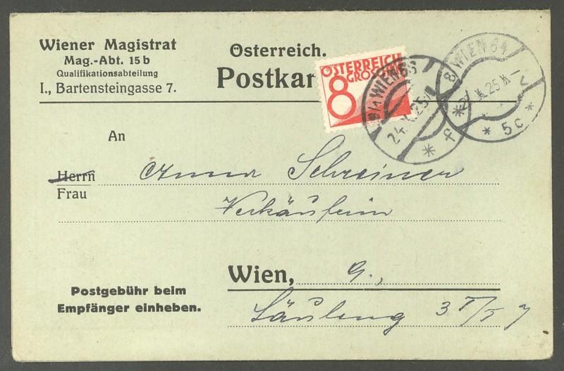 Verwendung von Portomarken in Österreich Ank_po10