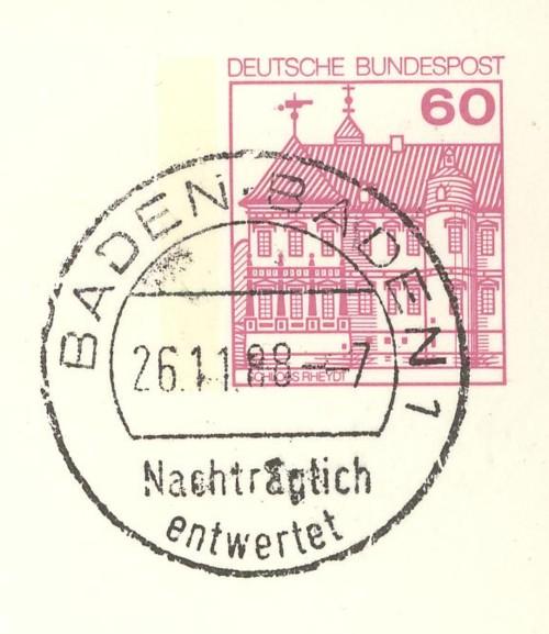 Nachträglich entwertet   -   Stempel aus Deutschland Baden-10