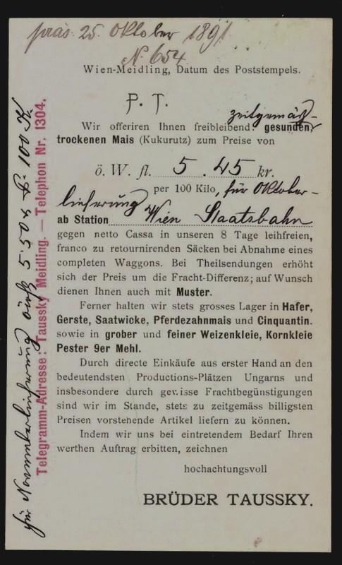 Frankierte Firmenpostkarten vor dem 1. Weltkrieg Brader11