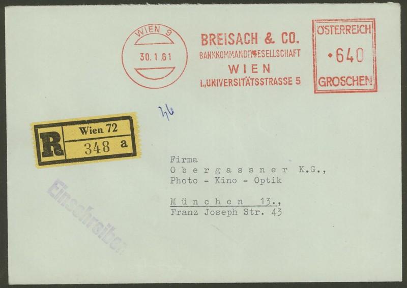 Briefe / Poststücke österreichischer Banken Breisa10