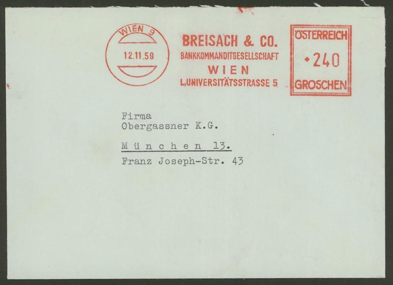 Briefe / Poststücke österreichischer Banken Breisa11