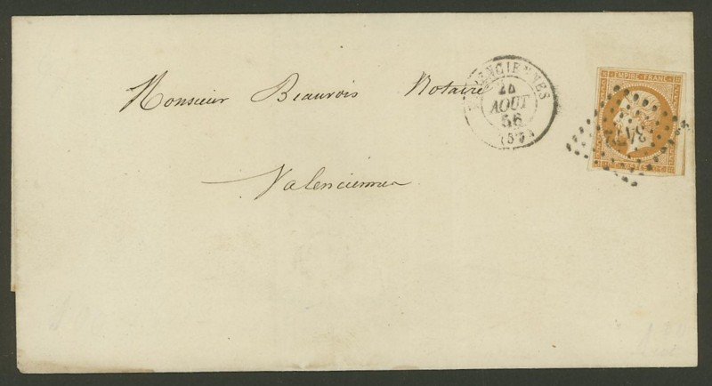Frankreich  -  Poststücke mit Marken Type Napoleon Mi_12_10
