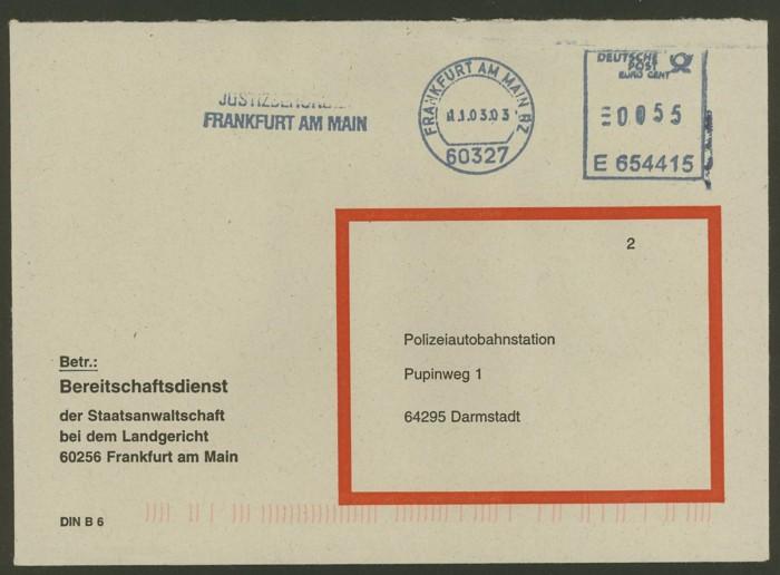 Dienstumschlag der Justizbehörden in Frankfurt/Main N_auto10