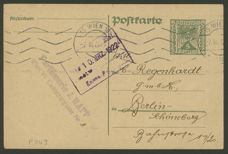 """Postkartenserie """"Quadratischer Wertstempel - Wertziffer im Dreieck"""" 1922-24 P_24910"""