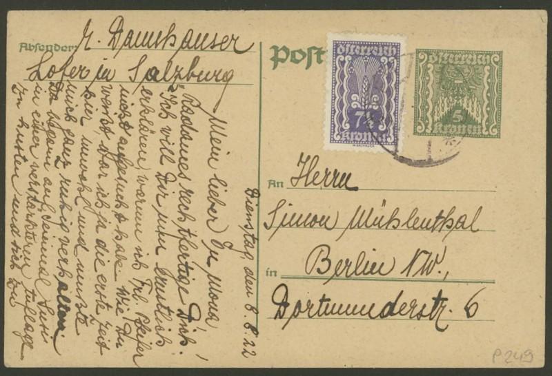 """Postkartenserie """"Quadratischer Wertstempel - Wertziffer im Dreieck"""" 1922-24 P_249_10"""