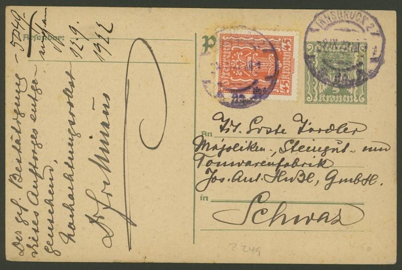 """Postkartenserie """"Quadratischer Wertstempel - Wertziffer im Dreieck"""" 1922-24 P_249_11"""