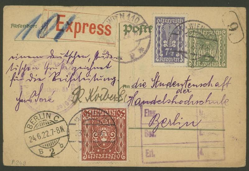 """Postkartenserie """"Quadratischer Wertstempel - Wertziffer im Dreieck"""" 1922-24 P_249_12"""