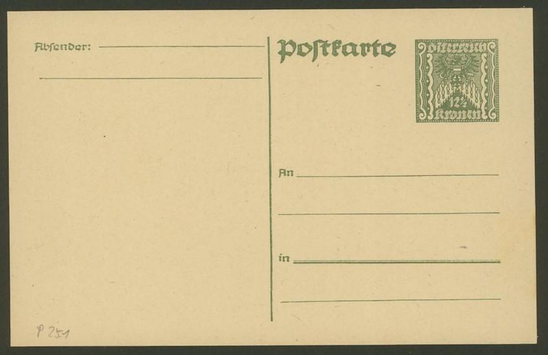 """Postkartenserie """"Quadratischer Wertstempel - Wertziffer im Dreieck"""" 1922-24 P_251_10"""