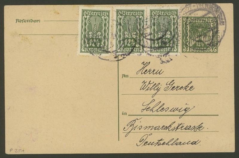 """Postkartenserie """"Quadratischer Wertstempel - Wertziffer im Dreieck"""" 1922-24 P_251_11"""