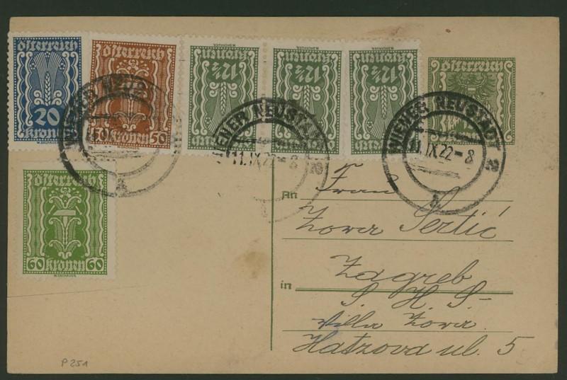 """Postkartenserie """"Quadratischer Wertstempel - Wertziffer im Dreieck"""" 1922-24 P_251_12"""