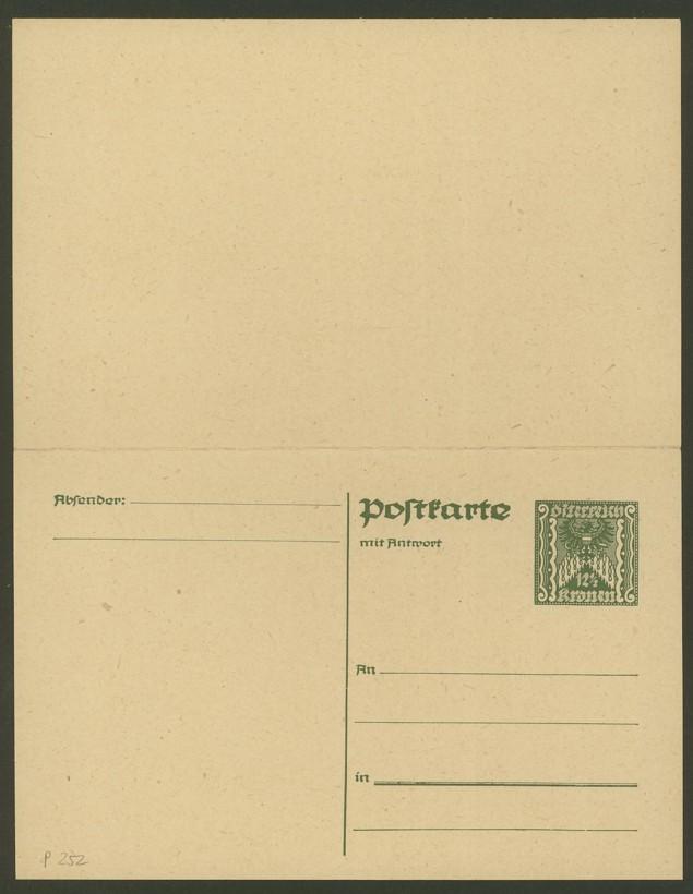 """Postkartenserie """"Quadratischer Wertstempel - Wertziffer im Dreieck"""" 1922-24 P_252_10"""