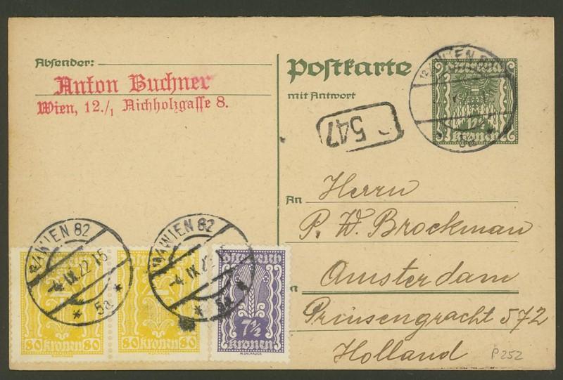 """Postkartenserie """"Quadratischer Wertstempel - Wertziffer im Dreieck"""" 1922-24 P_252_12"""