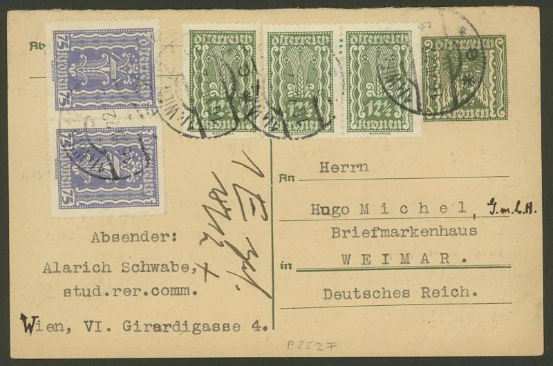 """Postkartenserie """"Quadratischer Wertstempel - Wertziffer im Dreieck"""" 1922-24 P_252_13"""