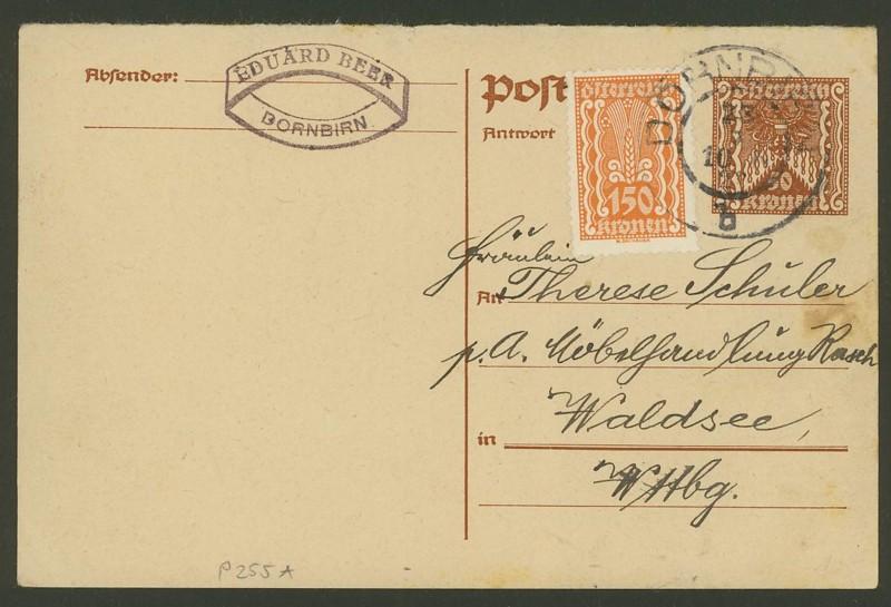 """Postkartenserie """"Quadratischer Wertstempel - Wertziffer im Dreieck"""" 1922-24 - Seite 2 P_255_10"""