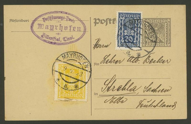 """Postkartenserie """"Quadratischer Wertstempel - Wertziffer im Dreieck"""" 1922-24 - Seite 2 P_257_10"""