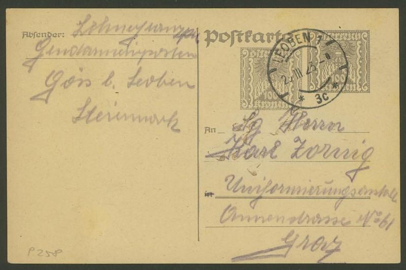 """Postkartenserie """"Quadratischer Wertstempel - Wertziffer im Dreieck"""" 1922-24 P_25810"""
