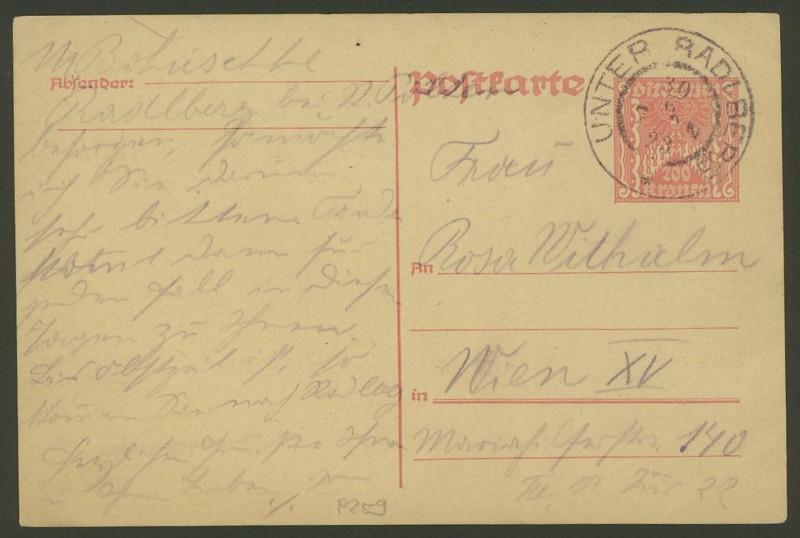 """Postkartenserie """"Quadratischer Wertstempel - Wertziffer im Dreieck"""" 1922-24 P_25910"""