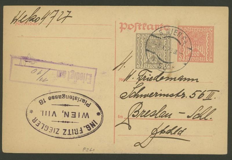 """Postkartenserie """"Quadratischer Wertstempel - Wertziffer im Dreieck"""" 1922-24 P_26110"""