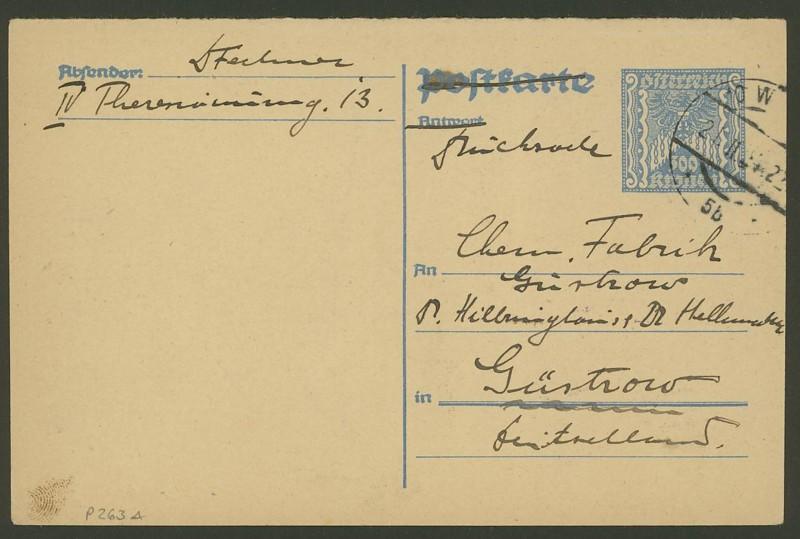 """Postkartenserie """"Quadratischer Wertstempel - Wertziffer im Dreieck"""" 1922-24 P_263_10"""