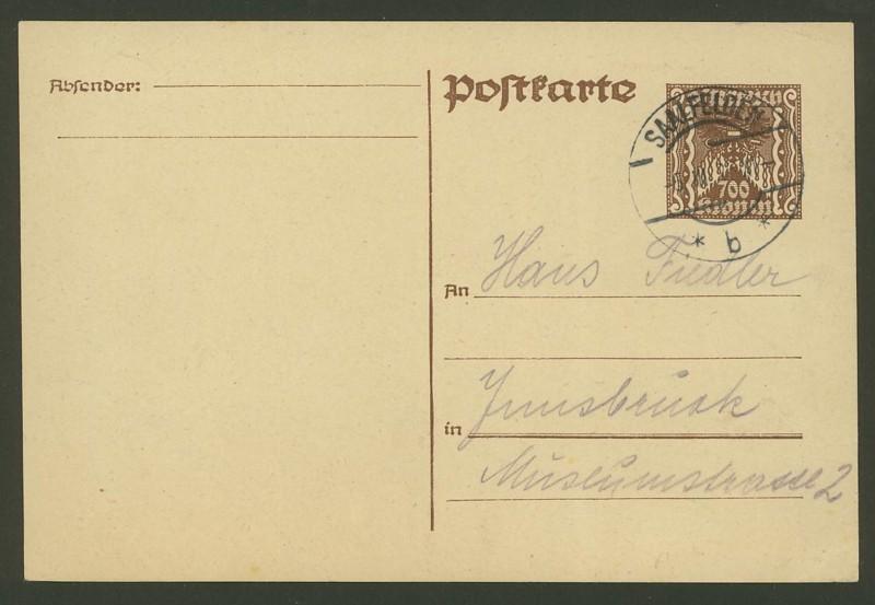 """Postkartenserie """"Quadratischer Wertstempel - Wertziffer im Dreieck"""" 1922-24 P_26610"""