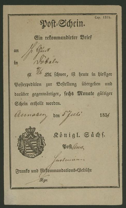 Postscheine aus Sachsen Sachse10