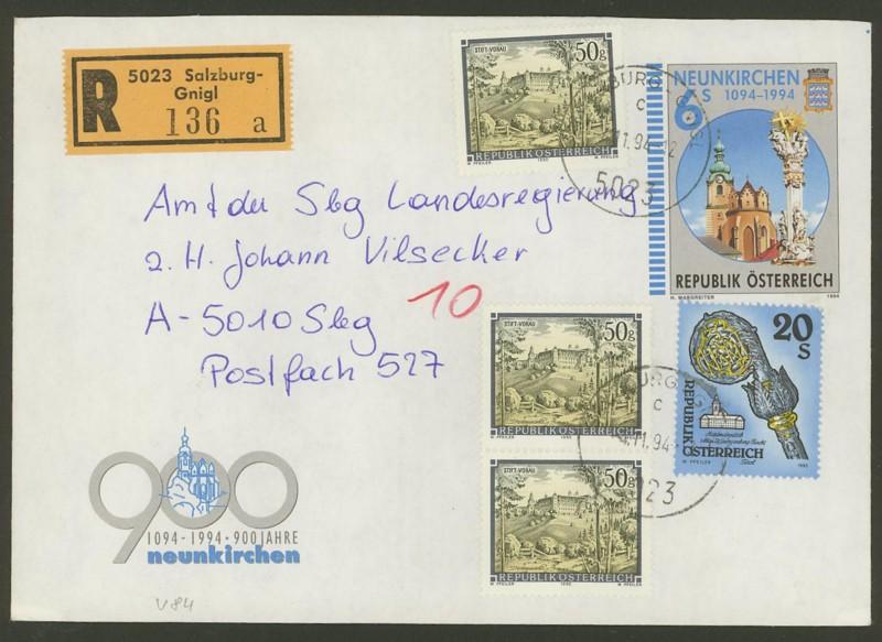 Amtliche Briefumschläge Republik Österreich, gelaufen U_8410