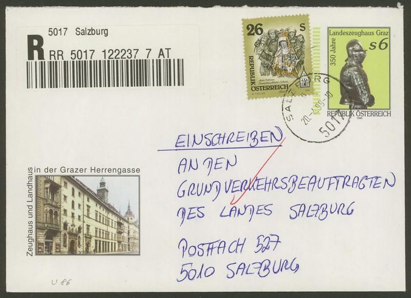 Amtliche Briefumschläge Republik Österreich, gelaufen U_8610