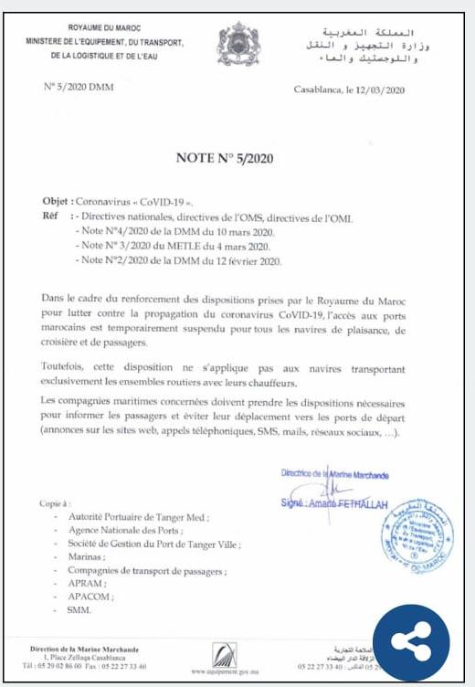 CORONAVIRUS liaisons maritimes vers le Maroc stoppées 89514910