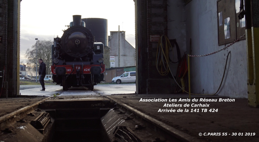 Carhaix. La machine à vapeur BB 141 TB 424  est à la CFTA Carhai12