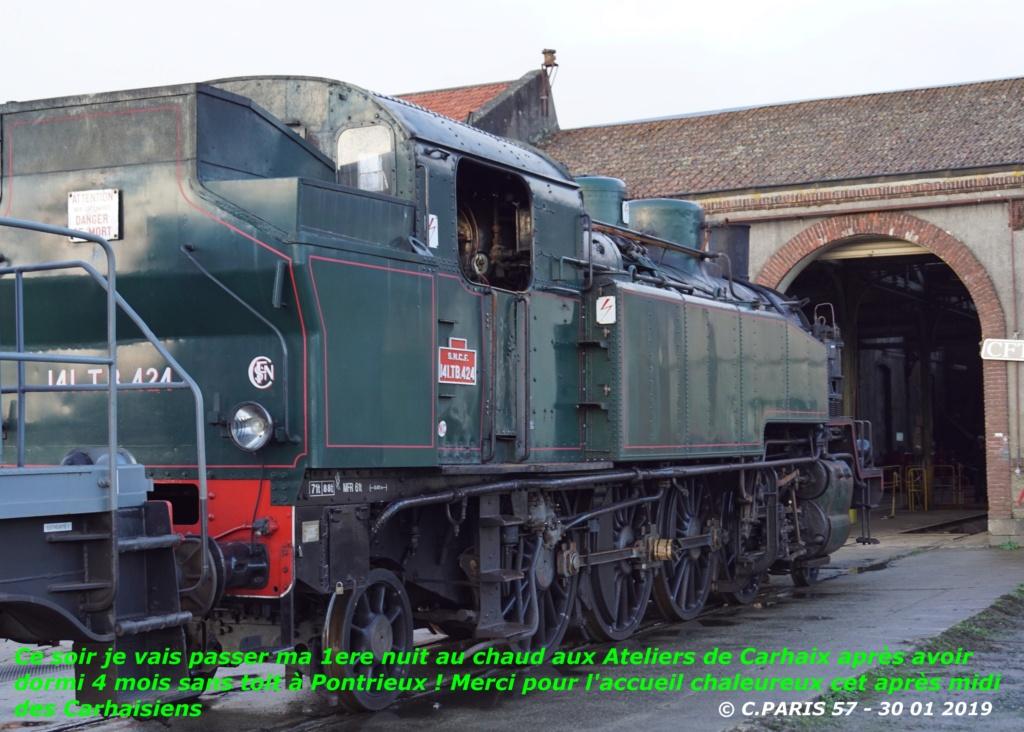 Carhaix. La machine à vapeur BB 141 TB 424  est à la CFTA Carhai13