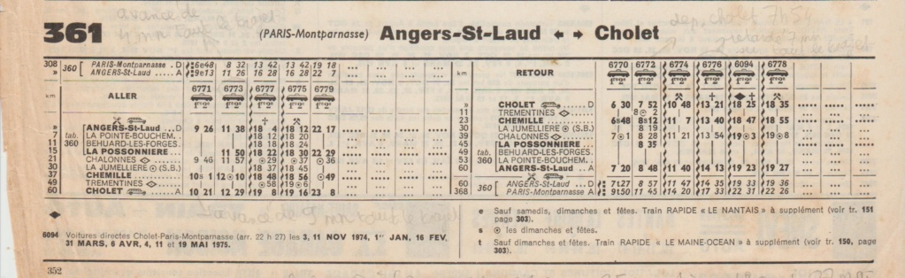 horaires Angers Cholet extraits Chaix 1966 - 1971 - 1974 - 1980 Chaix_44
