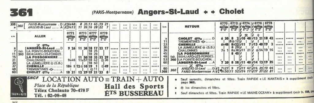 horaires Angers Cholet extraits Chaix 1966 - 1971 - 1974 - 1980 Chaix_47