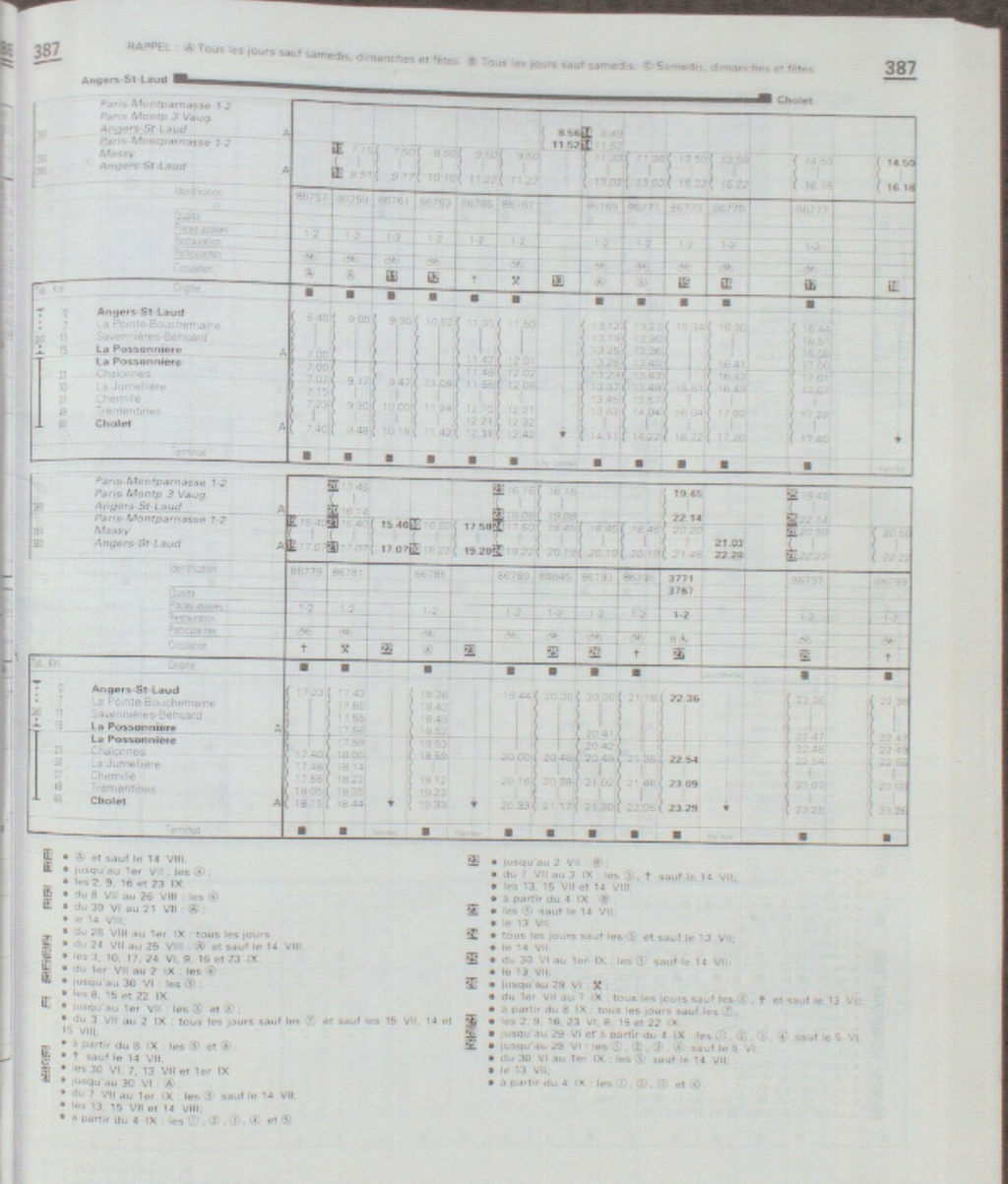 horaires Angers Cholet extraits Chaix 1966 - 1971 - 1974 - 1980 Chaix_48