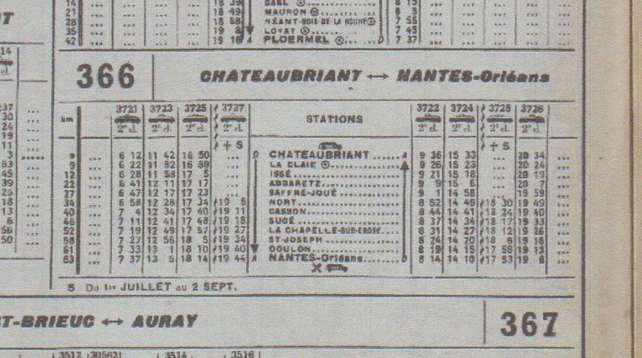 Chaix  horaires été 1966 hiver 1971 Nantes Chateaubriant Chatea17