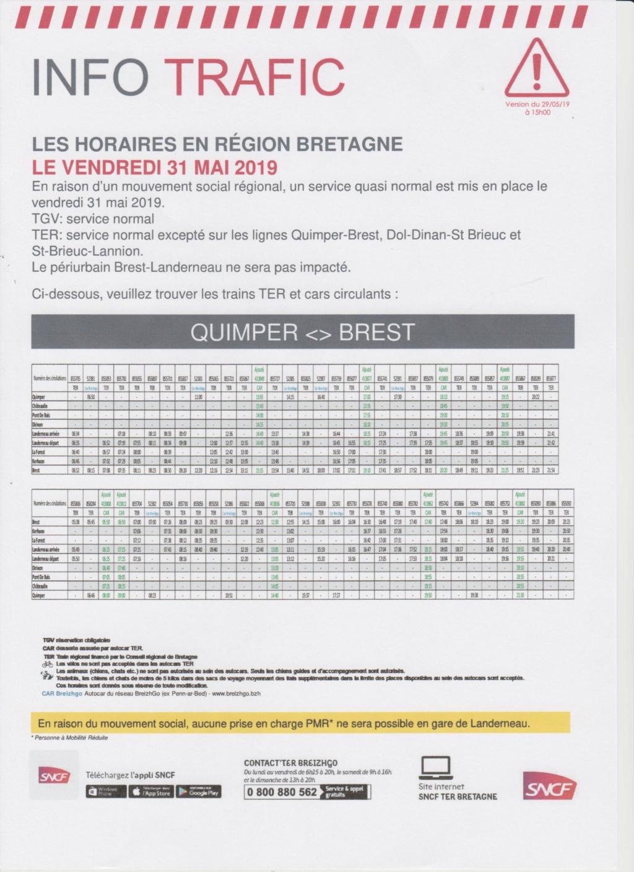 Mouvement social régional vendredi 31 mai ligne Brest Quimper impactée Image_48