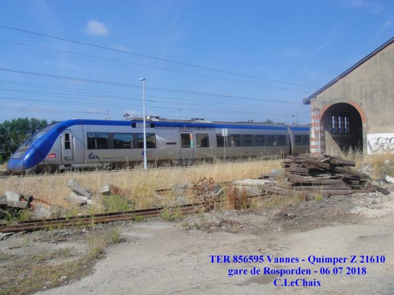 en gare de Rosporden trains et autocars TER entre 16 h 15 et 18 h vendredi 6 juillet 2018 Rospor16