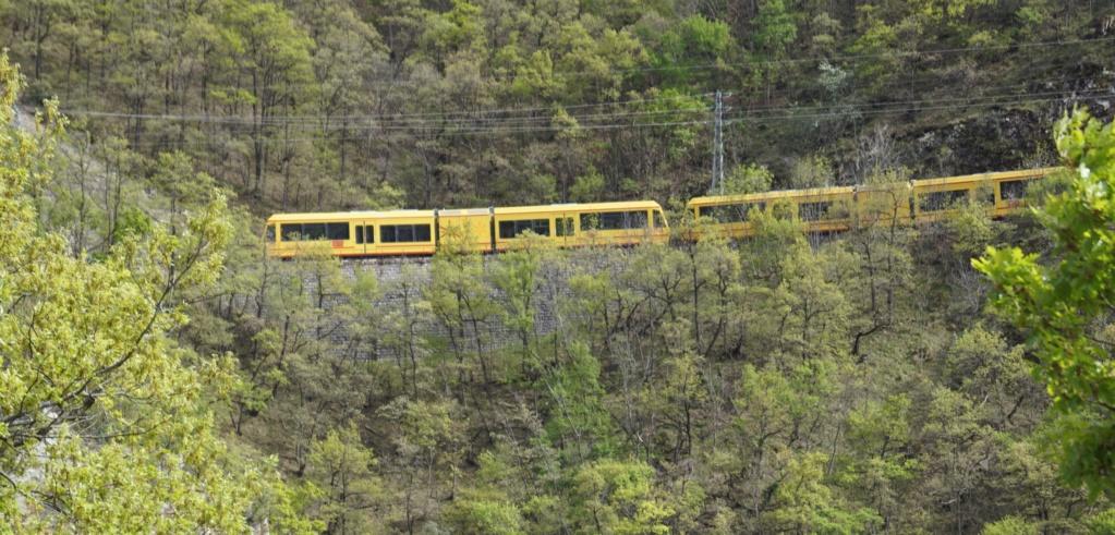 le train jaune ligne de Cerdagne de Villefranche Vernet les Bains à latour de Carol Villef32